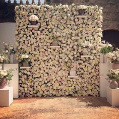 The Hottest 2015 Wedding Trend: 22 Flower Wall Backdrops - crazyforus Flower Wall Backdrop, Wall Backdrops, Floral Backdrop, Backdrop Ideas, Backdrop Decor, Ceremony Backdrop, Blush Flowers, Faux Flowers, Real Flowers