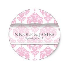 Pink & White Damask Vintage Wedding Event Favor Classic Round Sticker - baby birthday sweet gift idea special customize personalize