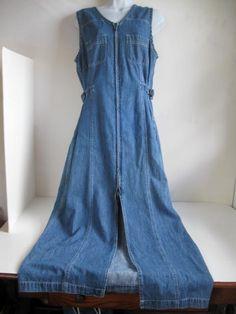 Vintage long Denim Zip Front Dress - Jumper size Large  $25.00   #craftshout03/19
