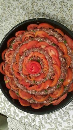 Another version of Kofta, called Kofta in a tray. Mix beef, lamb, veal with finely chopped onions, parsley, salt and pepper. Roll it as making a snake, and wind into layers. Stuff sliced tomatoes in between rolls. Bake 425 degrees for 50-60 minutes. Serve with pita bread.