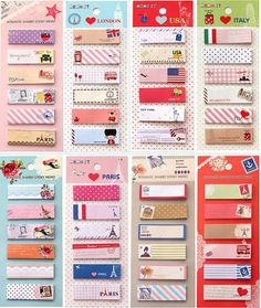 Set of 2 Cute Tourism sticky notes, memo pads for DIY scrapbook decoration, bookmark, paper working, wedding party deco-Pattern Random