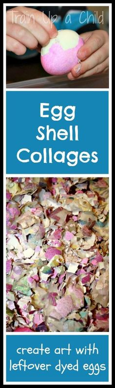 Egg Shell Collages - Art for kids with leftover Easter eggs.  I love making the most of our supplies!  These simple collages extended the life of our dyed Easter eggs, and they were fun to make!