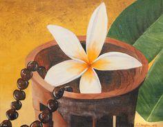 Kava Bowl w/Plumeria & Kukui Nut Lei (for sale on eBay)