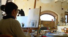 I love painting at the easle when it's cool outside. #painting #umbria