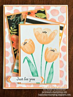 I love two-step stamping, flower cards, and layering designer series papers together.