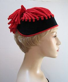 VINTAGE, WHIMSICAL, BLACK & RED, CHARMER HAT by JOHN FREDERICS, #1636 #WHIMSICAL