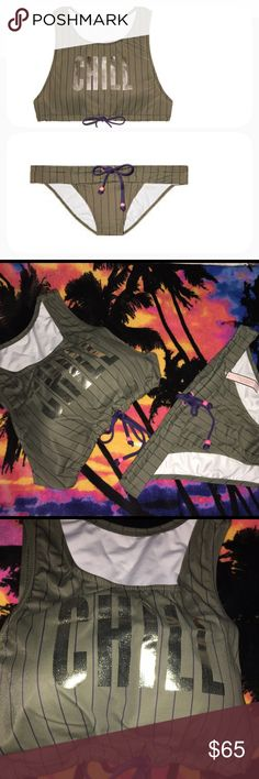 🆕VS Graphic Crop and Drawstring Cheeky 🆕Shipped in online original packaging.Send a seaside message in a swim tank with bold graphics and beaded ties.  Removable padding for no show-through Pulls on; no closure Adjustable tie front In smooth matte fabric Hand wash Imported nylon/spandex........The cheeky shows its sporty side with a drawstring waist and contrast ties.  Low rise Cheeky coverage: Medium back, reveals a little, but not all Lined In smooth matte fabric Adjustable ties at…