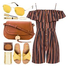"""""""Sunday Time"""" by smartbuyglasses-uk ❤ liked on Polyvore featuring Ray-Ban, WearAll, See by Chloé, Kork-Ease, Jules Smith, Fashion Fair, Estée Lauder, Nadri, yellow and brown"""