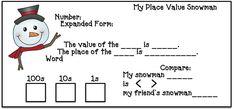 place value activities, place value crafts, place value games, snowman activities, snowman crafts, January bulletin boards, snowman glyph, glyphs, 3D cylider shape activities, 3D shape crafts, 3D shape activities,