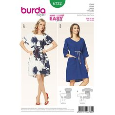 Buy Burda Women's Dress Sewing Pattern, 6732 from our Sewing Patterns range at John Lewis & Partners. Simple Dress Pattern, Summer Dress Patterns, Pattern Dress, Burda Sewing Patterns, Clothing Patterns, Sewing Ideas, Sewing Projects, Style Patterns, Simple Dresses