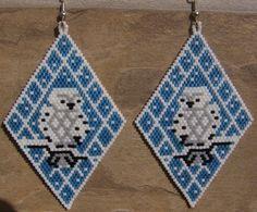 Snow Owl Earrings Hand Made Seed Beaded via Etsy
