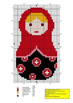 Matryoshka red hama perler beads pattern