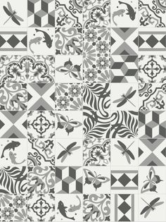 Black and white patchwork tile