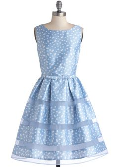 Dinner Party Darling Dress in Blue Bubbles, #ModCloth