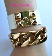 Rose Gold Studded Leather Cuff and Chunky Chain Set