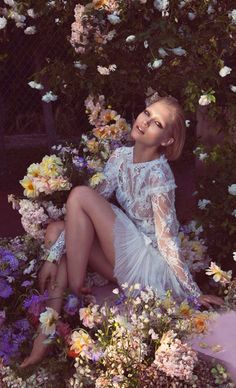 ❀ Flower Maiden Fantasy ❀ women & flowers in art fashion photography - Hana Jirickova Blooms In 'Peach Blush' By Camilla Akrans For Vogue China March 2014