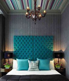 Loving that striped ceiling, chandelier, tufted headboard. It's all lovely minus the decor on either side of the bed Decoration Inspiration, Interior Inspiration, Bedroom Inspiration, Decor Ideas, Lamp Ideas, Interior Ideas, Color Inspiration, Upholstered Furniture, Bedroom Furniture