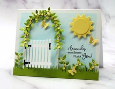 I decorated a simple gate and arbor with these tiny vines and baby cardstock flowers, all from Rubbernecker, to make a card that works so perfectly with this greeting. Come on over and get some insider tips to make one too! Diy Crafts Slime, Slime Craft, Rubber Stamping Techniques, Friendship Cards, Card Making Techniques, Tiny Flowers, Garden Gates, Die Cut Cards, Flower Cards