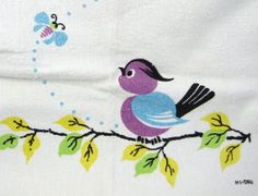Feathered Friends  Vintage 1950s Kitchen Towel by OrbitingDebris, $24.00