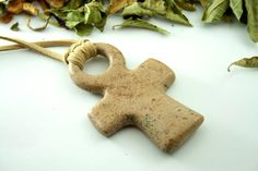 Cross pendant Cross necklace stone cross by naturalstonecutter