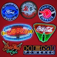 Automotive Garage Signs, Posters, Neon Clocks, Gas Pumps and Vintage Hot Rod memorabilia Garage Signs, Garage Art, Garage Accessories, Vintage Neon Signs, Neon Clock, Girl Sign, Wall Banner, Victorian Furniture, Gas Pumps