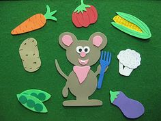 """""""Denise Fleming's Lunch that I made to go along with a vegetable themed story time.  Basically, Mouse is hungry so he eats a large variety of food and then heads off to take a nap until dinnertime.  It is a cute story, great for the littlest story time friends with a few words on a page and bright, bold illustrations.  The book also notes the color of each food, so for my flannel/foamie version I made vegetables in a variety of colors so the kids could help by naming the color and food…"""