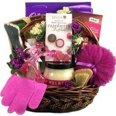 Mulberry Lane, Spa and Chocolate Basket! -   This luxury spa basket is loaded with delicious treats for her to enjoy while she relaxes the cares of the world away.