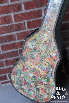 Stamp Covered Guitar Case-idea for all those stamps I purchased in Paris!