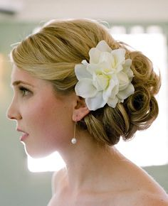 Classic Bridal Updo with Flower, Q Weddings