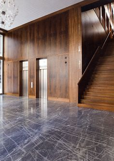Entrance lobby of the Fabrikstrasse 12 office building on the Novartis Campus by Vittorio Lampugnani. Beautiful classical atmosphere.