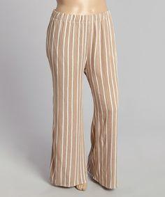 Another great find on #zulily! Beige Stripe Wide-Leg Pants - Plus #zulilyfinds