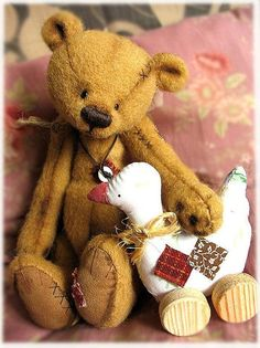 both teddy bear and his toy ducky, too! Vintage Teddy Bears, My Teddy Bear, Vintage Toys, Teddy Toys, Bear Doll, Charlie Bears, Stuffed Animal Patterns, Softies, Cuddling