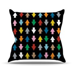 "Project M ""Arrows Up and Down Black"" Throw Pillow"