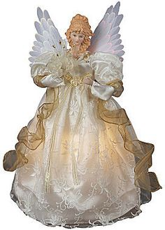 "Kurt Adler 14"" Animated Angel Christmas Tree Topper, This fiber optic ivory and gold-colored animated angel tree topper is a unique twist on a classic Christmas design."