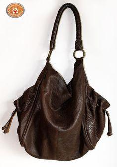 HOBO INTERNATIONAL Slouchy XL Brown Leather Hobo Drawstring Side Pockets Bag 557a727da50f8