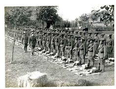 The 1st battalion of the 4th Ghurkha Rifles line up for kit inspection.