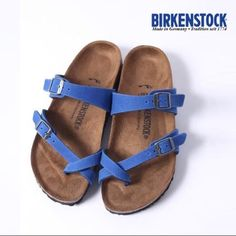 Brand new Birkenstock Mayari sandals These classic comfy birks have the same amount of comfort but look just a little different than everybody else's in a fun blue. I'll add pictures of the actual shoes upon request! Birkenstock Shoes Sandals