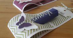 Mit einem Streifen Farbkarton und ein bisschen Designerpapier entstehen flott ein paar Goodies... Mit dem 1er Kreis wird das Loch für die S...