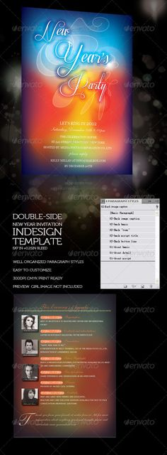 New Year Invitation with Program  #GraphicRiver        [ Double-side New Year Invitation with Program ] :  InDesign CS4 Template  5×7in + 0.25in bleed  Easy to customize, well organized 'Paragraph Syle' and 'Character Style', 'Object style'  300 DPI CMYK Print Ready, PDF Help file attached  The InDesign linked file – Front 'New Year's Party' Illustration is made in AI CS4  The InDesign linked file – Back'Portrait'images is made in PSD Templates, you can also place your own image , then apply…