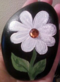 Painted rock with bling! :)