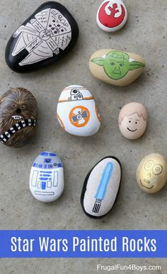 won't need the force to make these awesome Star Wars painted rocks Star Wars Painted Rocks - Awesome craft for kids!Star Wars Painted Rocks - Awesome craft for kids! Rock Painting Ideas Easy, Rock Painting Designs, Paint Ideas, Rock Painting For Kids, Stone Crafts, Rock Crafts, Star Wars Painting, Star Wars Crafts, Painted Rocks Kids