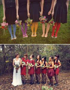 Love this! Bridesmaids in tights. Keep the dress simple, and add interest with color/texture, so fun!