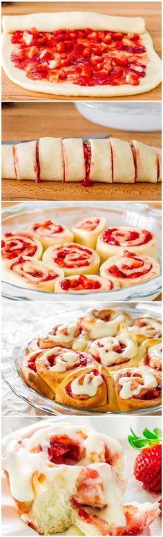Strawberry Rolls with Cream Cheese Icing. Erdbeerrollen mit Frischkäsefrosting.