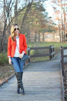 Blazer: J.Crew old (similar,other nice options here, here,here) / Sweater: H&M (love this one) /Jeans: Joe's J...