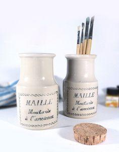 French Sandstone Jar Cork Lid Brown Grey Beige Pot White