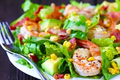 Shrimp, Roasted Corn and Avocado Salad