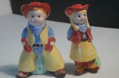 Cowboy and Cowgirl Vintage Salt And Pepper Shakers, Collectible Shakers, Home decor,Castawayacres by Castawayacres on Etsy