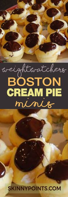 Boston Cream Pie Minis With Only 2 Weight Watchers Smart Points.. yes 2 points.. but minis.. you are just making them easier to pop into my mouth..giggle.