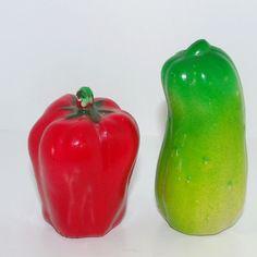 Vtg Retro Vegetable Salt & Pepper Shaker Plastic Red Pepper & Cucumber #vtg #collectible #Salt&PepperShaker #RedPepper #GreenCucumber #vegetable #plastic #HongKong #MothballHavenVintageThreads