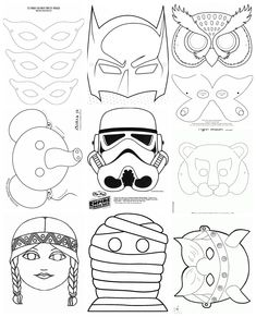 Collection of carnival masks - Letölthető sablonok papírálarcokhoz 2016 Diy For Kids, Crafts For Kids, Diy And Crafts, Paper Crafts, Pattern Coloring Pages, Carnival Masks, Mask For Kids, Coloring Books, Disney Characters